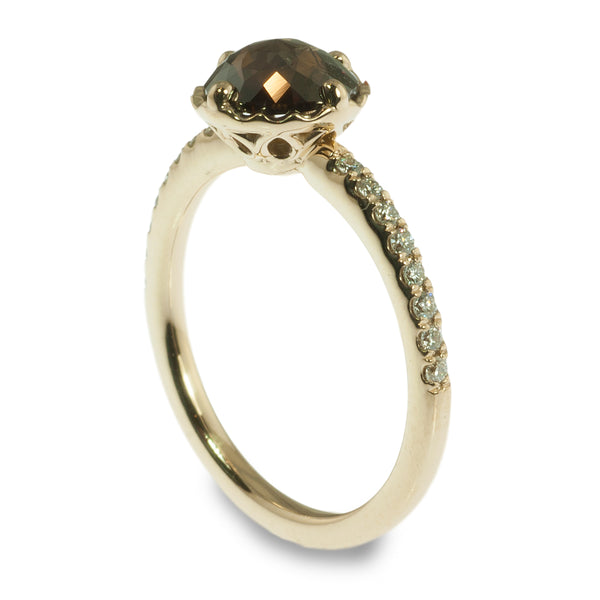 Brown Rose Cut Diamond Ring