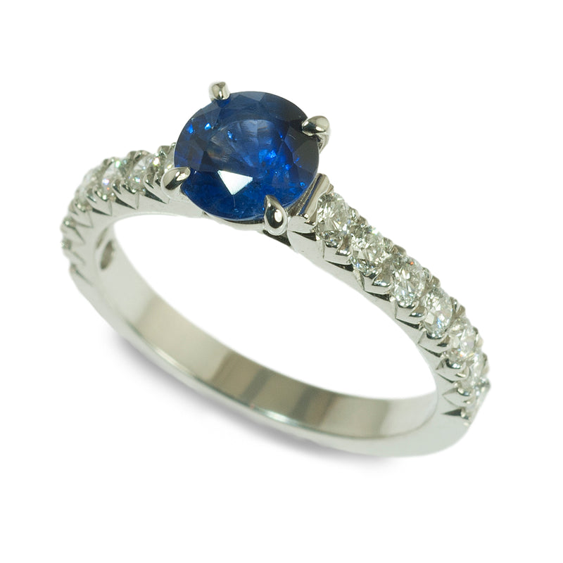Sapphire and french set diamond ring