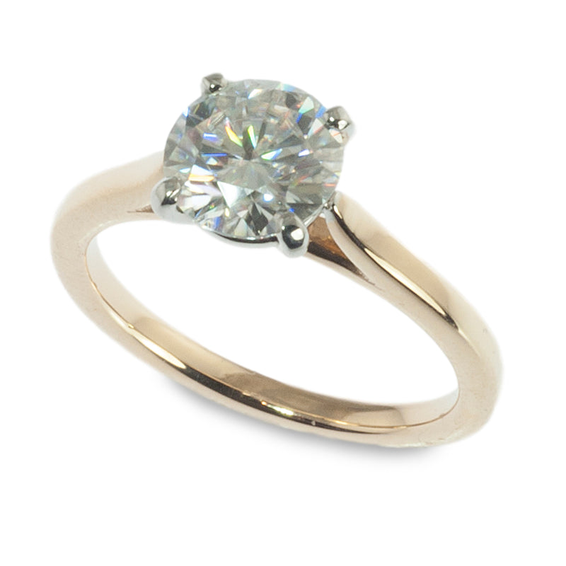 Two tone Moissanite solitaire engagement ring