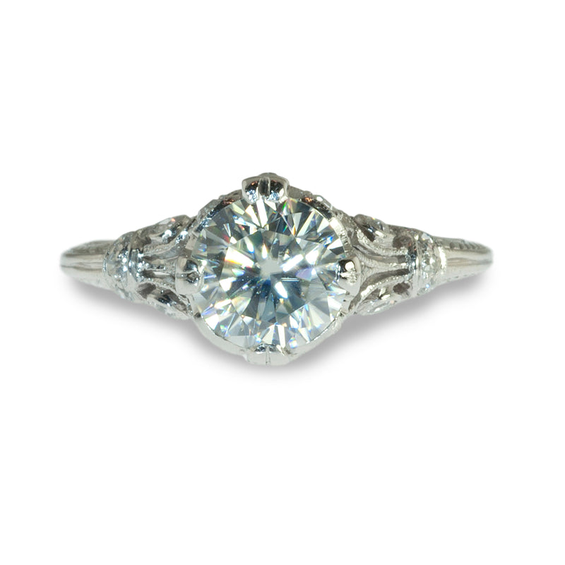 Edwardian platinum ring with Moissanite center