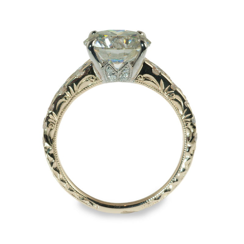 Tapered hand engraved solitaire engagement ring