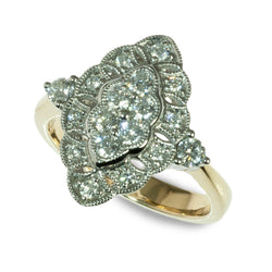 14K Two Tone Marquis Shaped Diamond Cluster Ring