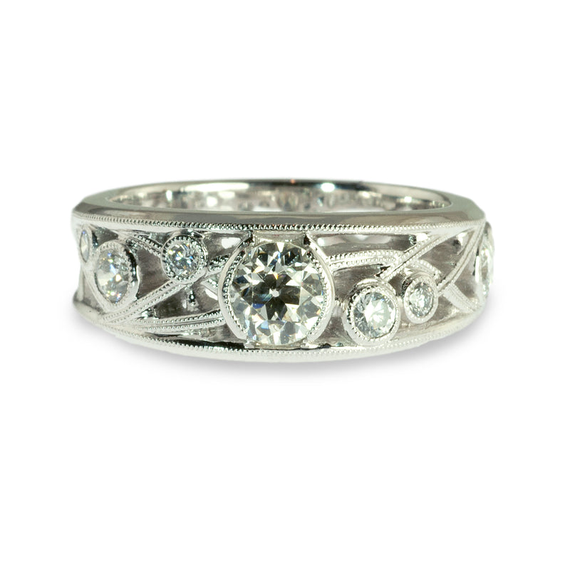 Wild rose tapered diamond band ring