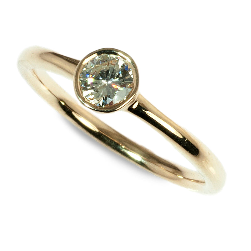 14k yellow gold bezel set diamond stacking ring