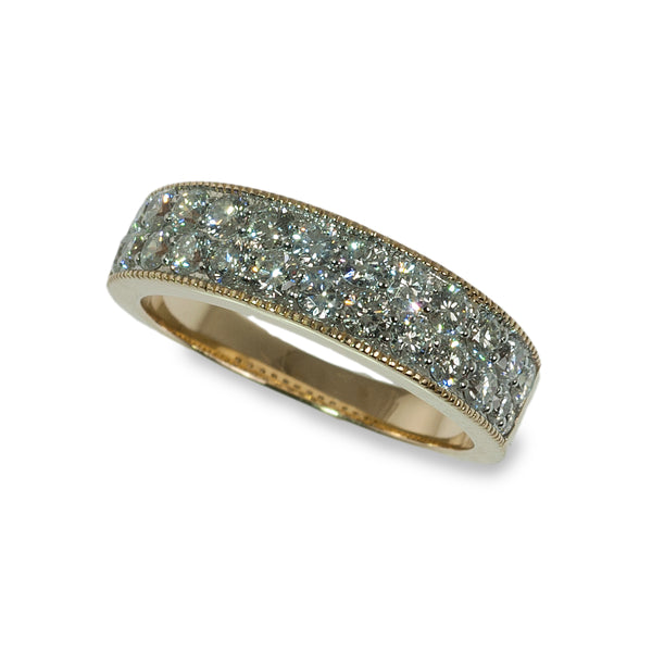 Tapered pave diamond two tone band ring