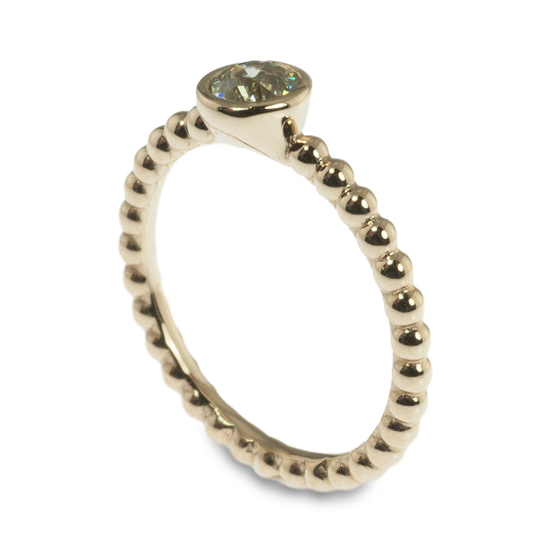 14k yellow gold bezel set diamond beaded stacking ring