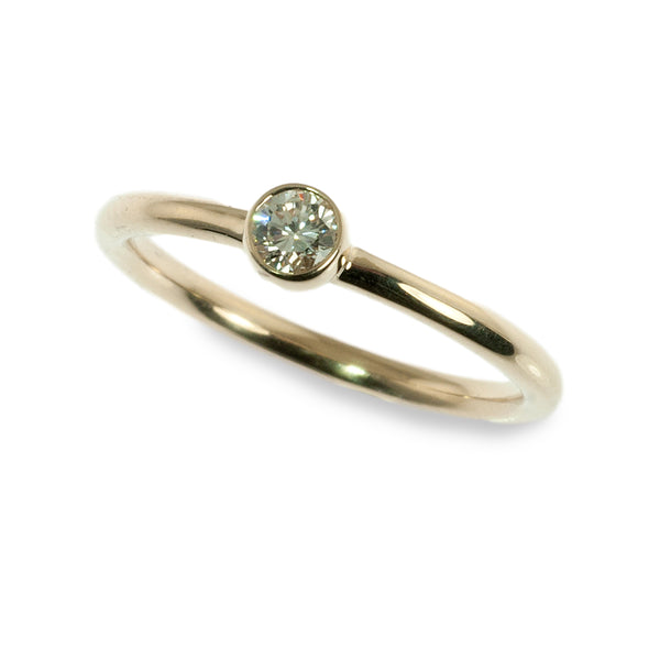 Bezel set diamond stacking ring
