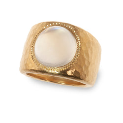 Moonstone hammered chunky band ring