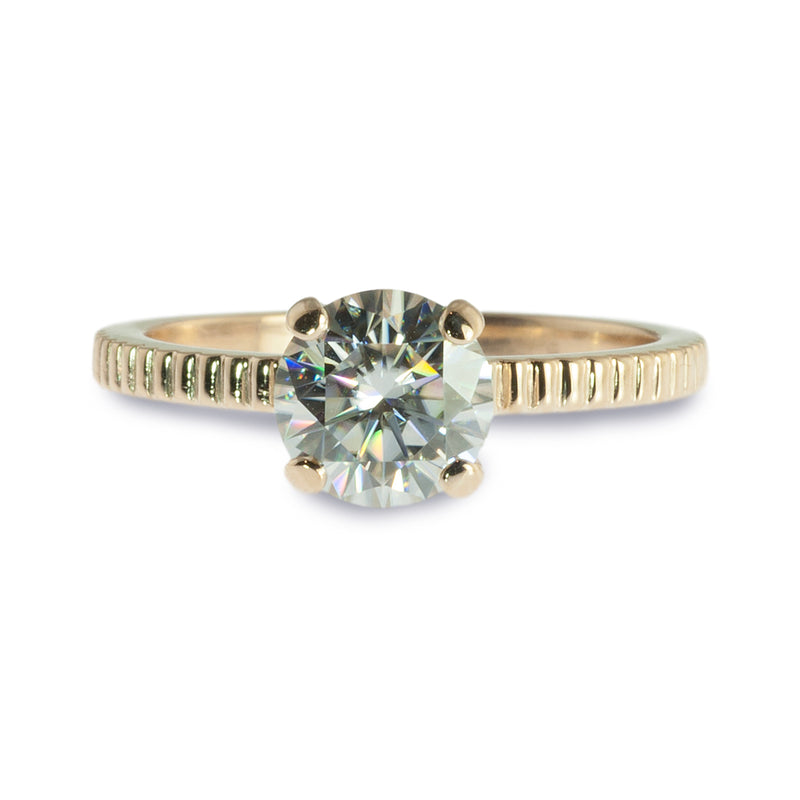 Moissanite coin edge stacking ring