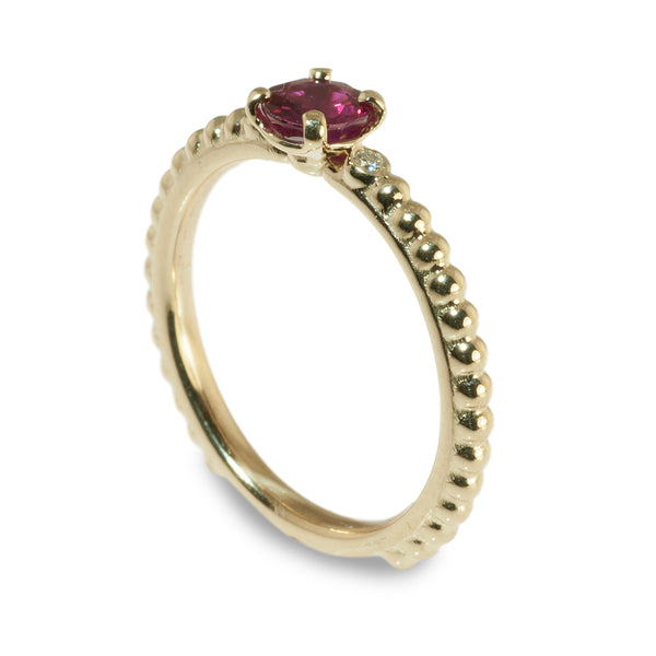 Ruby and diamond beaded stacking ring