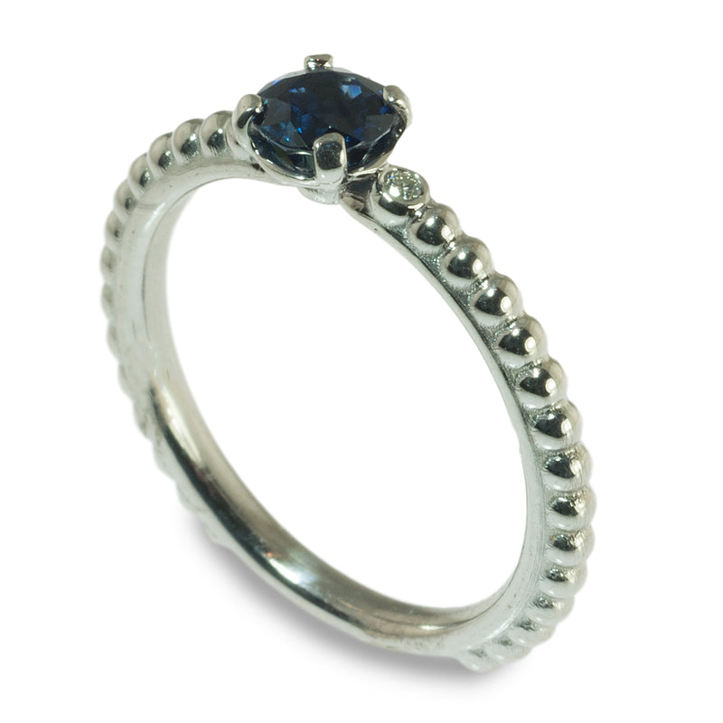 Sapphire and diamond beaded stacking ring