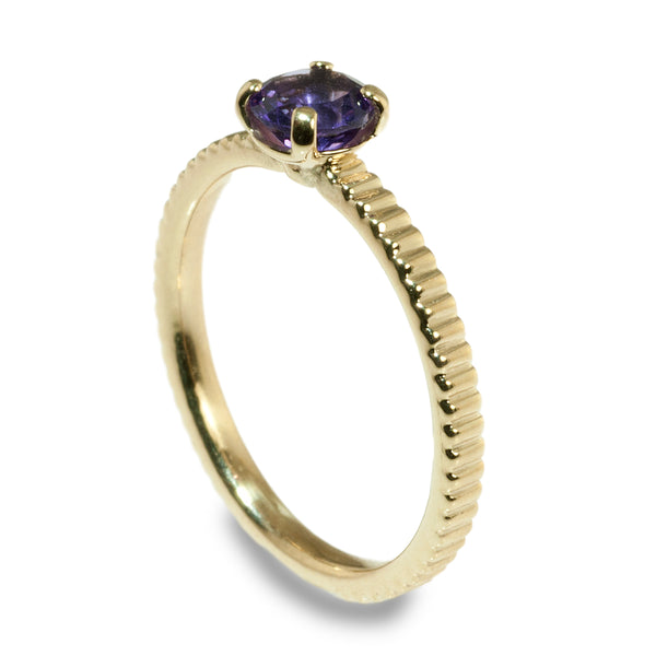 Amethyst coin edge stacking ring