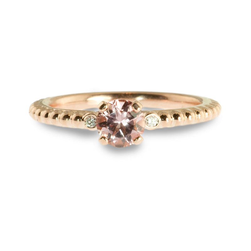 Morganite and diamond beaded stacking ring