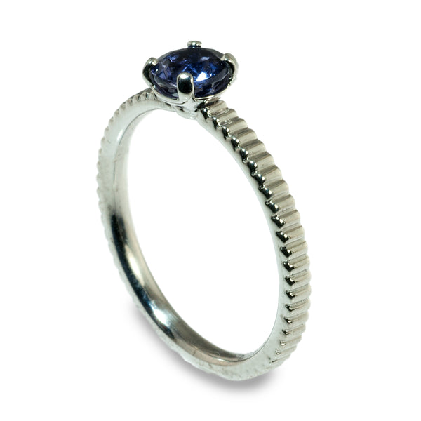 Iolite coin edge stacking ring