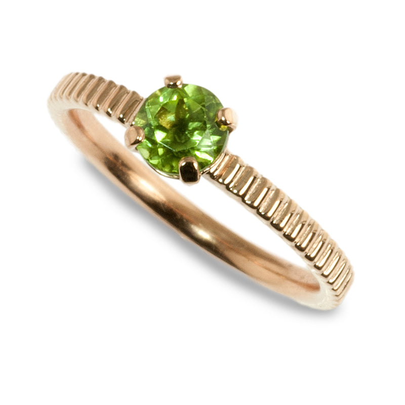 Peridot coin edge stacking ring