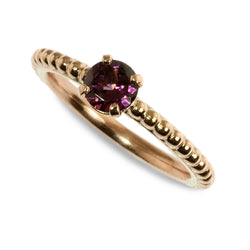 Rhodolite garnet beaded stacking ring
