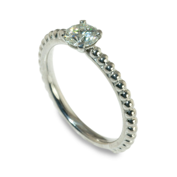 Moissanite beaded stacking ring