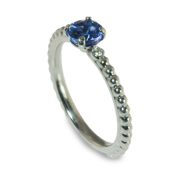 Tanzanite and diamond beaded stacking ring