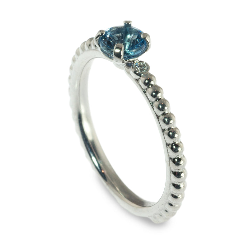 Aqua and diamond beaded stacking ring