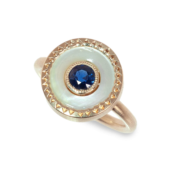 Button ring with sapphire center