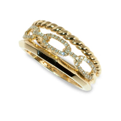 Triple band diamond chain link ring