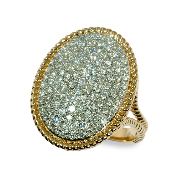 Twisted wire oval pave ring