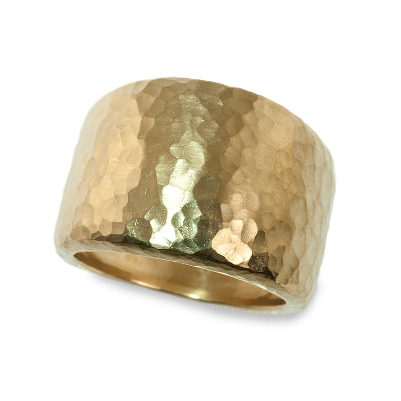 Hammered heavy tapered band ring