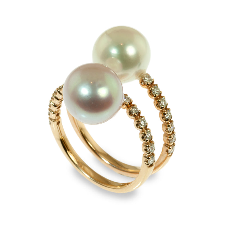 South sea pearl spiral ring
