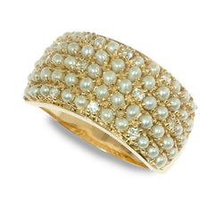 14K Gold Diamond and Seed Pearl Band