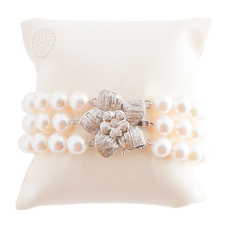 Diamond Flower Triple Row Cultured Pearl Bracelet