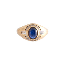 Cabochon sapphire and diamond hammered ring