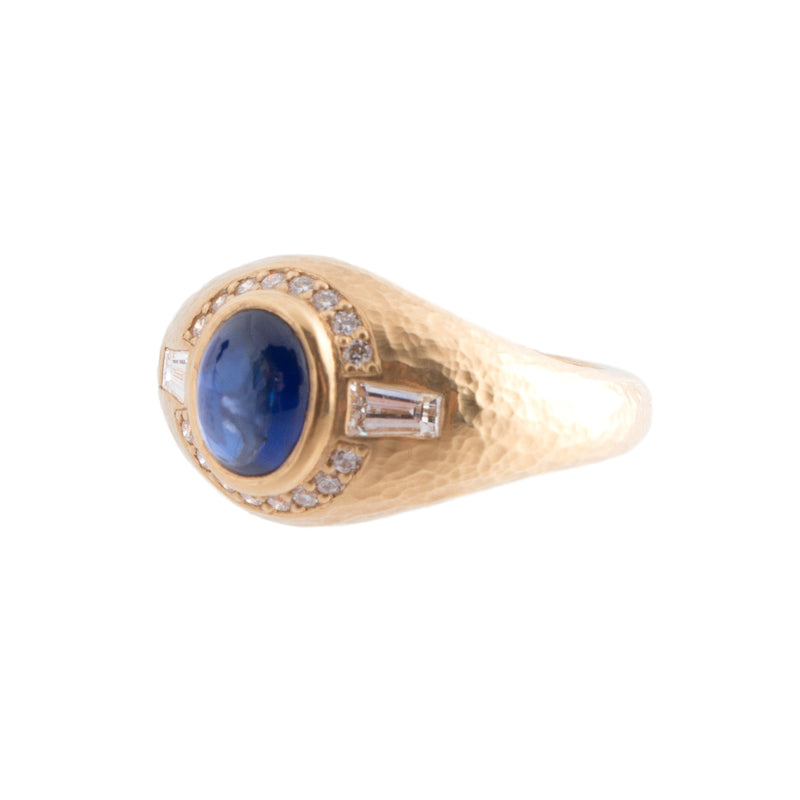 18K Gold Sapphire Cabochon Ring
