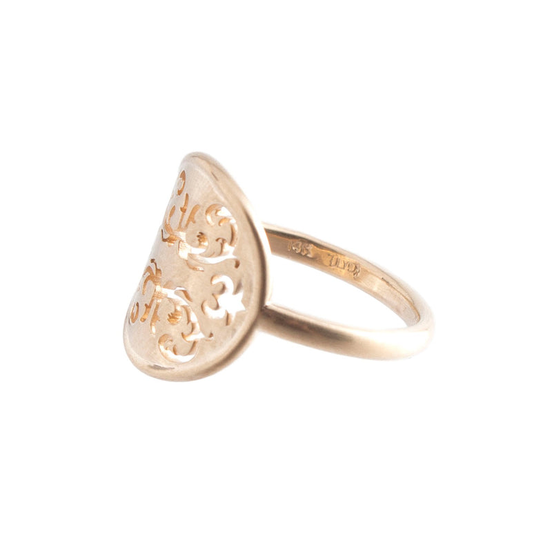14K Gold Wallpaper Curved Ring