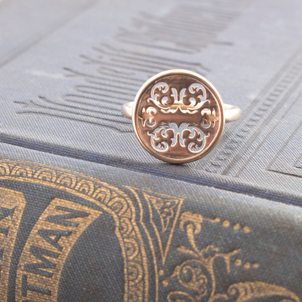 14K Gold Wallpaper Button Ring
