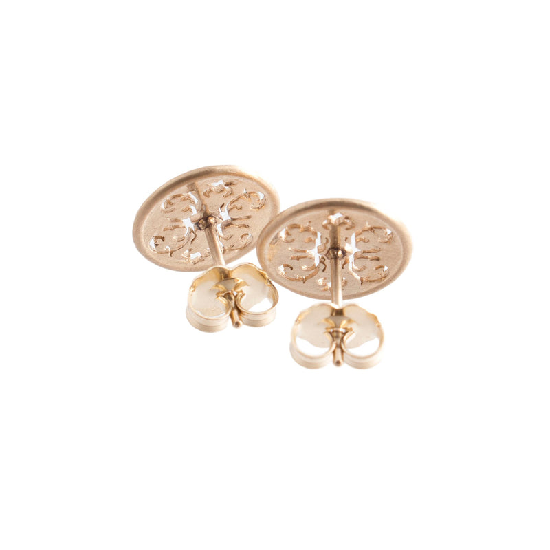 14K Gold Wallpaper Stud Earrings