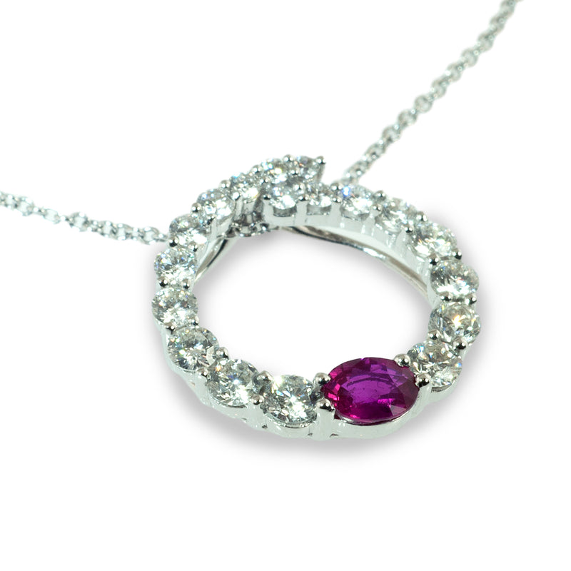 Ruby and diamond graduated circle pendant