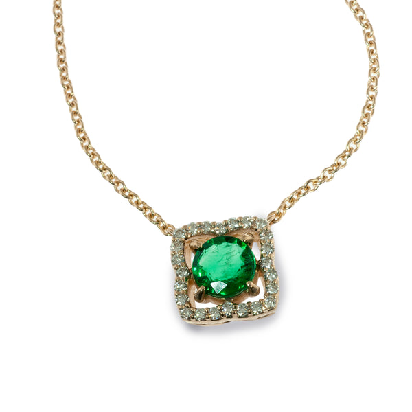Emerald and diamond quatrefoil pendant