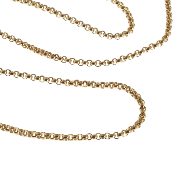 Solid Rolo link 14k yellow gold necklace