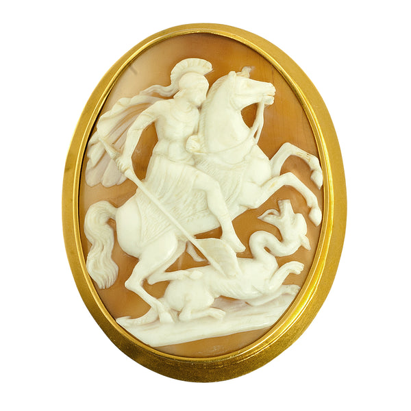St George and the Dragon cameo pin