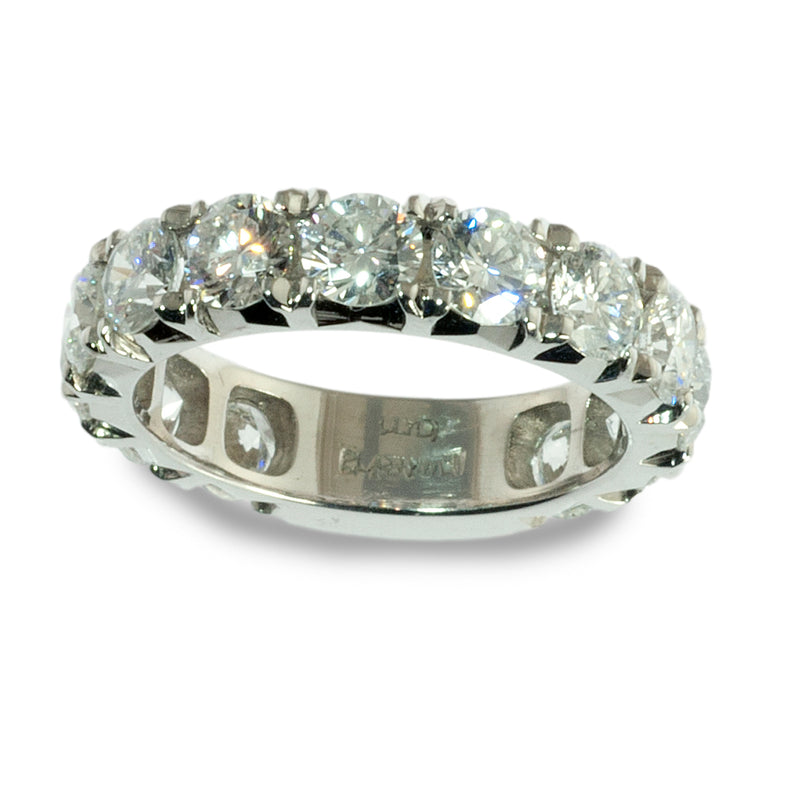 Platinum french set diamond wedding ring