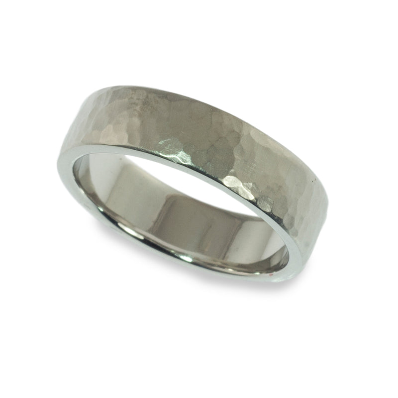 Hammered cushion shaped band ring