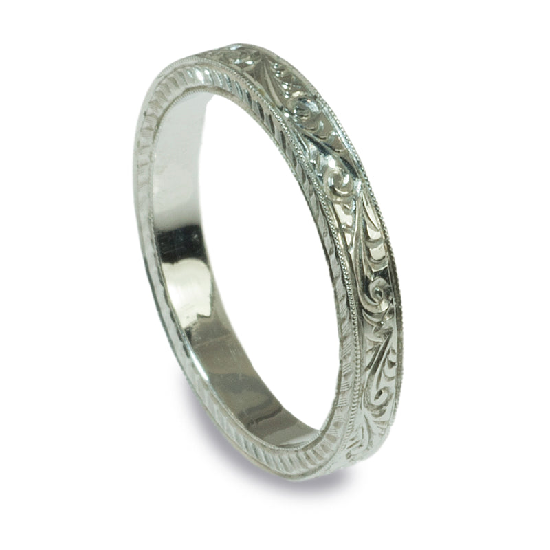 Hand engraved vintage style wedding ring