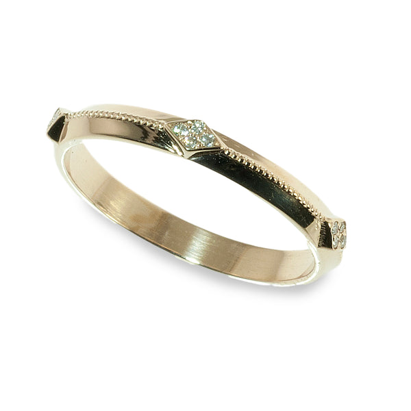 Beveled milgrain diamond band ring