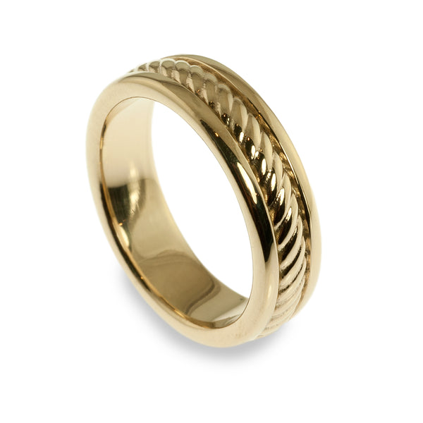 Men's cable style wedding ring