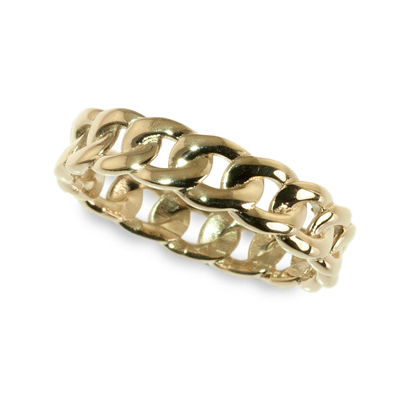 Curb link band ring