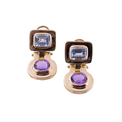 14K Gold Blue Topaz and Amethyst Geometric Earrings