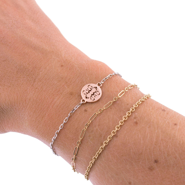 Two Tone Small Wallpaper Disc Bracelet