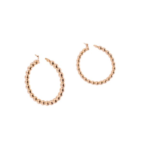 14K Gold Beaded Hoop Earrings