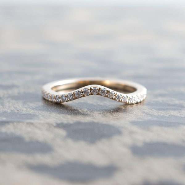 14K Gold Curved Split Prong Diamond Band
