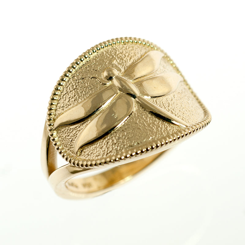 14 karat Dragonfly cigar band ring